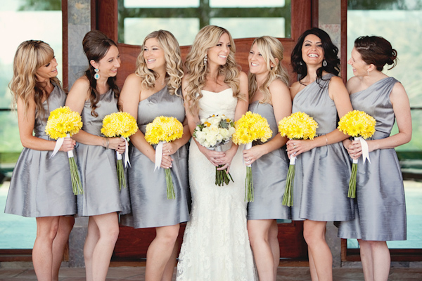 Bride with Bride's Maids and yellow flowers.