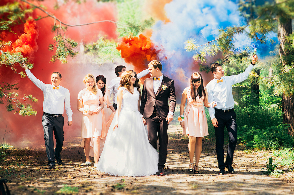Bride and Groom with Smoke Colors