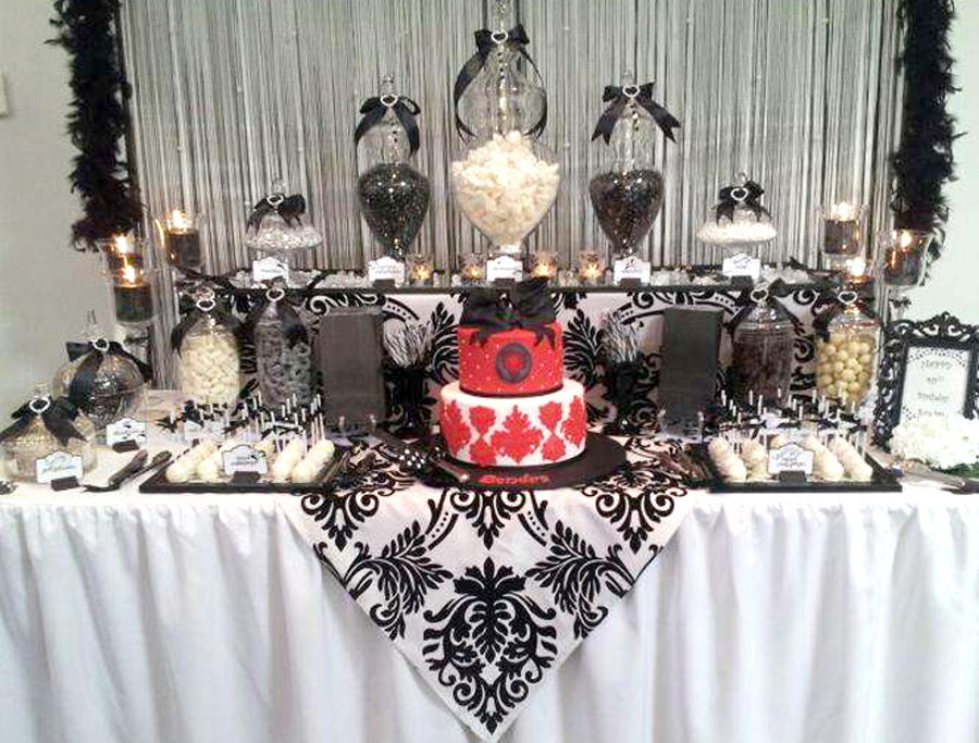 Quinceañera Themes - Black And White Party Table