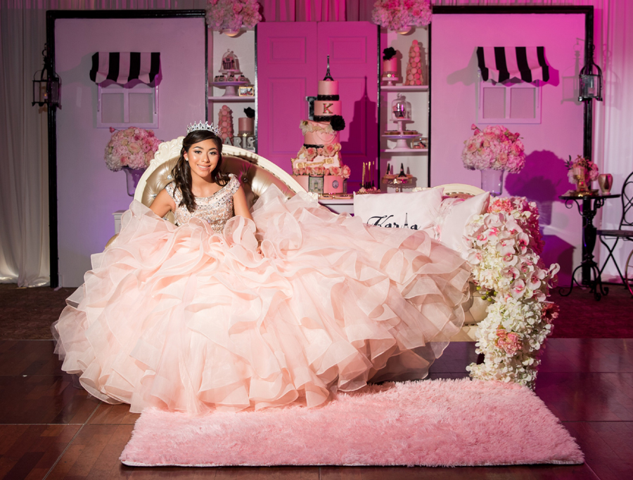 Quinceañera Themes - Birthday Girl Sitting At Paris Themed Party