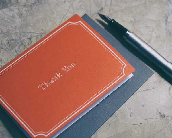 Red Thank You Card With Pen