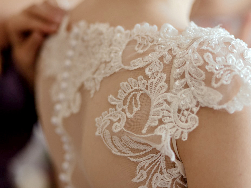 Wedding Dress Shopping - Close Up Back Of Wedding Gown With Lace