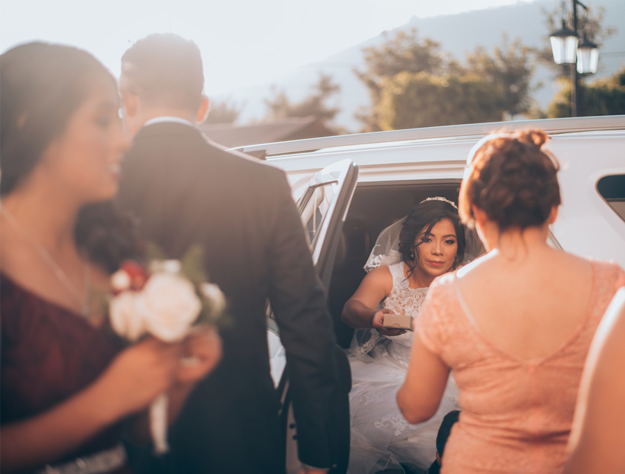 Wedding Vendors - Bride Getting Out Of A Limousine
