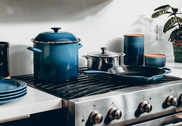 Wedding Registry - Blue Cookware On Stove